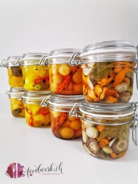 Essiggemüse aus der Oktober Challenge von foodblogs Schweiz. Pilze, Quitte, Blumenkohl und Mais
