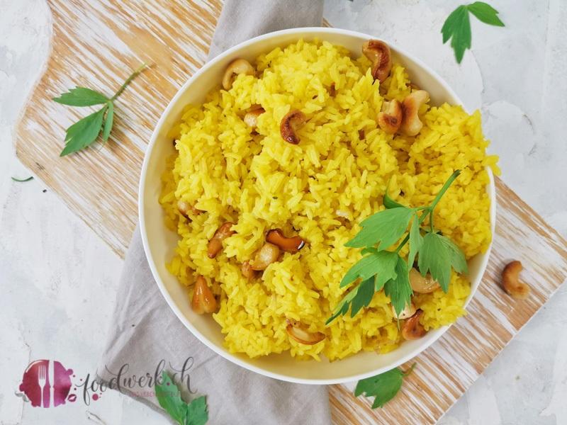 Jasmin Reis mit Safran und Cashew Nuessen