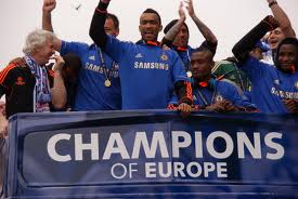Chelsea players celebrating their Champions League success
