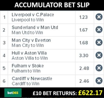Accumulator bet slip with Bet365