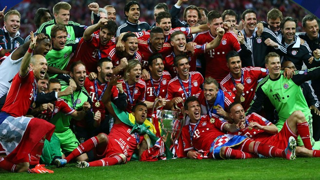 Bayern Celebrating their 2012 Champions League triumph by beating Dortmund in the final