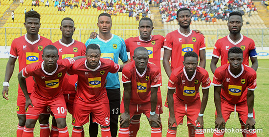 Asante Kotoko, lining in the all red home outfit before a game (Pic Cou: asantekotokosc.com)