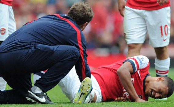 Football injuries : oxlade-chamberlain of arsenal