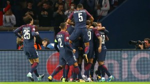 Mbappe and PSG colleagues celebrate