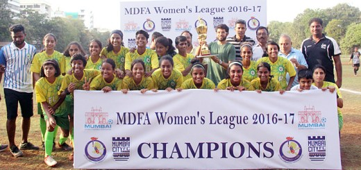 The victorious Football Leaders Academy players proudly pose with the 'Champions' trophy along with Chief Guest, Aditya Thackeray, who is also the Chairman of the MDFA. Football Leaders Academy defeated defending champions Bodyline FC 5-4 via the tie-breaker in the final of the MDFA Women's League 2017 and played at the Karnatak SA ground, Cross Maidan on Monday evening.