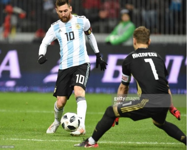Messi in action for Argentina