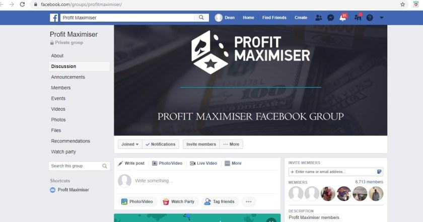 Profit Maximiser Facebook