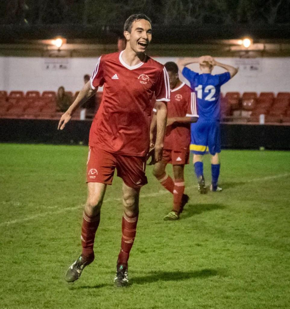 Ben Poynter celebrates scoring. Photo: Neil Graham.