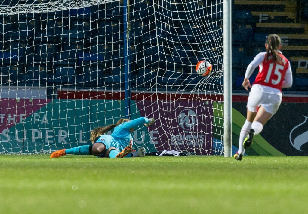 Grace Maloney is beaten in goal for Reading Women. Photo: Neil Graham.