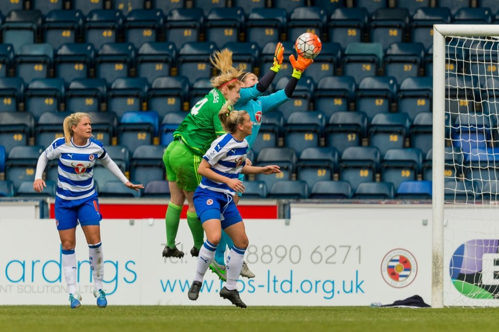 Mary Earps claims for Reading FC Women. Photo: Neil Graham.