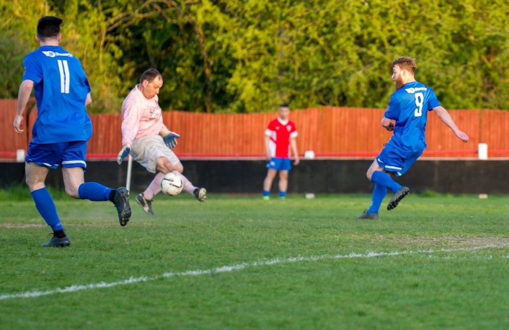Ethan Jerome scores Binfields second against Chalvey Sports in Fielden Cup Final. Photo: Colin Byers.