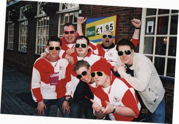 Bracknell Town fans TC and Duds on an away day to Worthing in the 2000s. Photo: Matt Edwards.