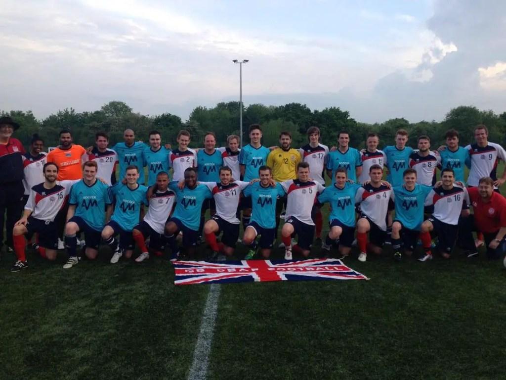 GB Deaf football team warm up against Bracknell's George Lock