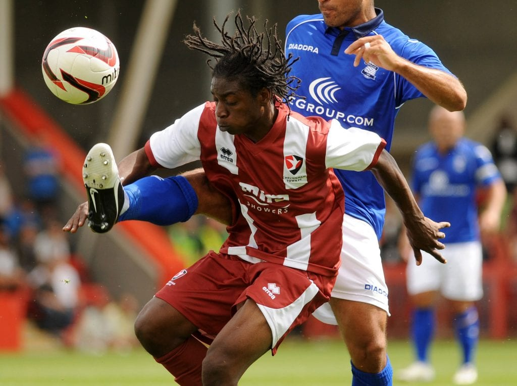 Jermaine McGlashan playing for Cheltenham Town. Photo: Birmingham Mail.