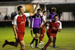 Sam Barratt celebrates scoring from the penalty spot against Henley Town. Photo: Connor Sharod-Southam.