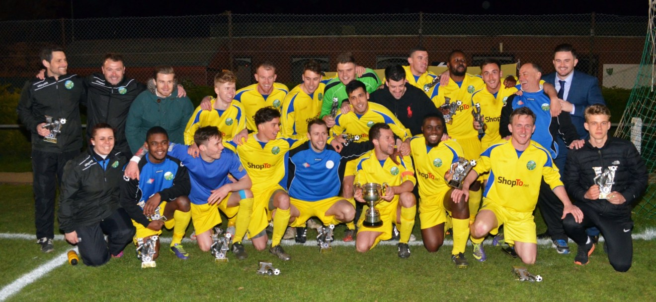 Ascot United celebrate with the 2015/16 Hellenic League Floodlit Cup. Photo: Mark Pugh.