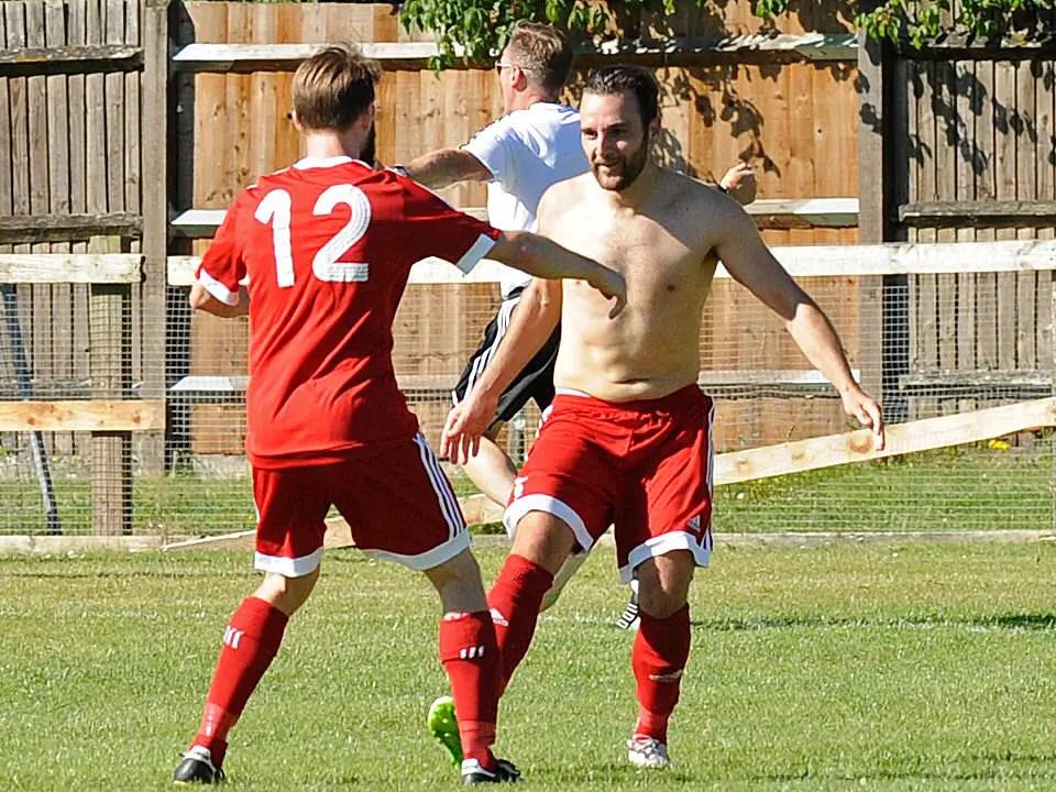Adam Cornell celebrates scoring for Bracknell Town FC. Photo: Mark Pugh.