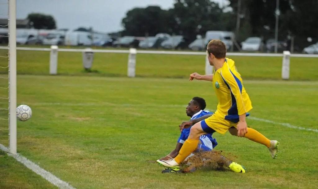 Luke Wilson drags his shot wide for Ascot United. Photo: Mark Pugh.