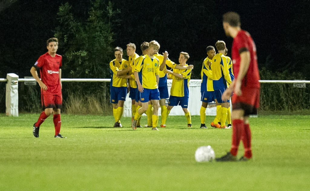 Ascot United celebrate a winner at home to Binfield FC. Photo: Colin Byers.