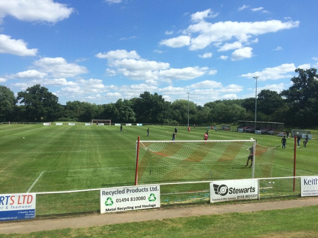 Binfield FC's Hill Farm Lane in the sunshine. Photo: Tom Canning.