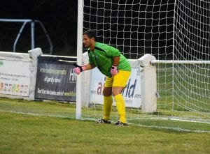 Ascot United manager Jeff Lamb in goal. Photo: Mark Pugh.