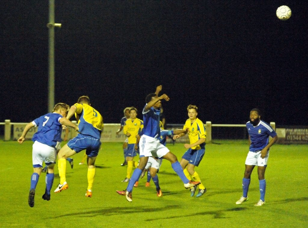 Second half action from Ascot United FC vs Highmoor-IBIS FC. Photo: Mark Pugh.