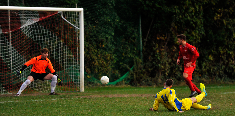 Gavin Brainch scores for Ascot United FC. Photo: Mark Pugh.