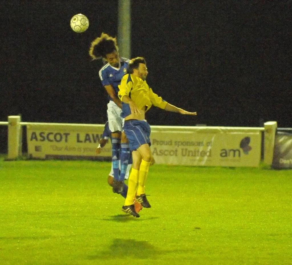 High flying hair. Ascot United FC vs Highmoor-IBIS. Photo: Mark Pugh.
