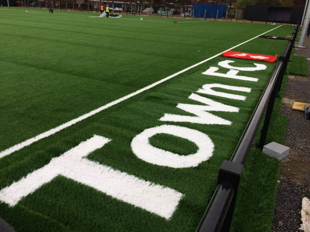 Bracknell Town FC will be cut into the side of the pitch. Photo: Kayne Steinborn-Busse.