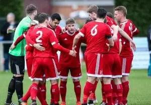 Bracknell Town pre match huddle. Photo: Neil Graham.