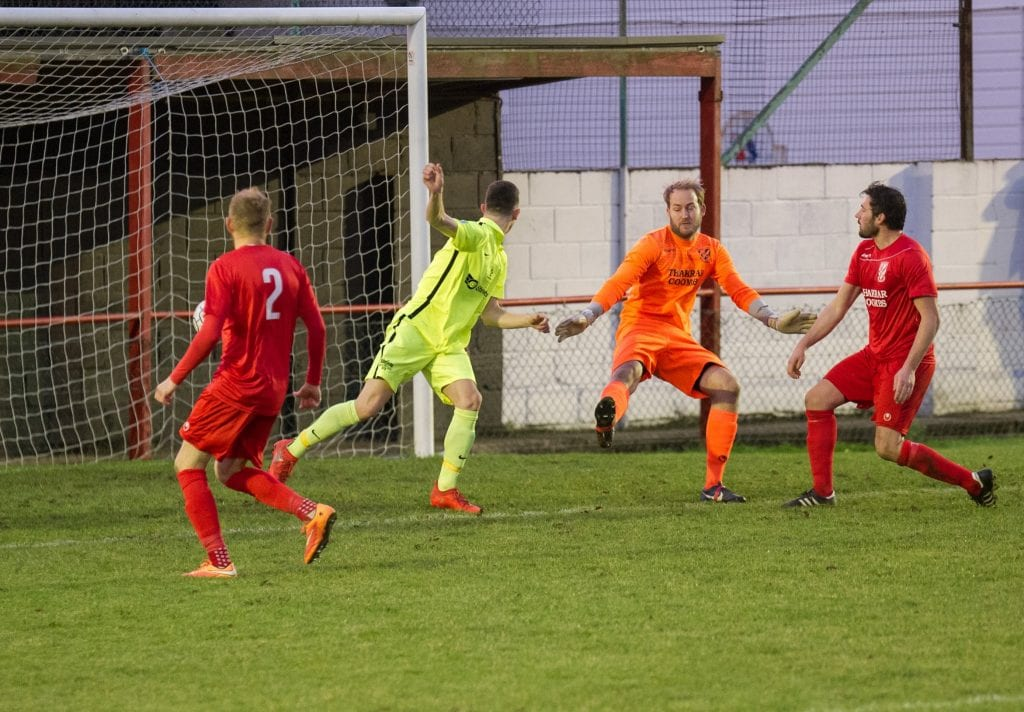 Luke Hayden heads home for Binfield FC. Photo: Colin Byers.