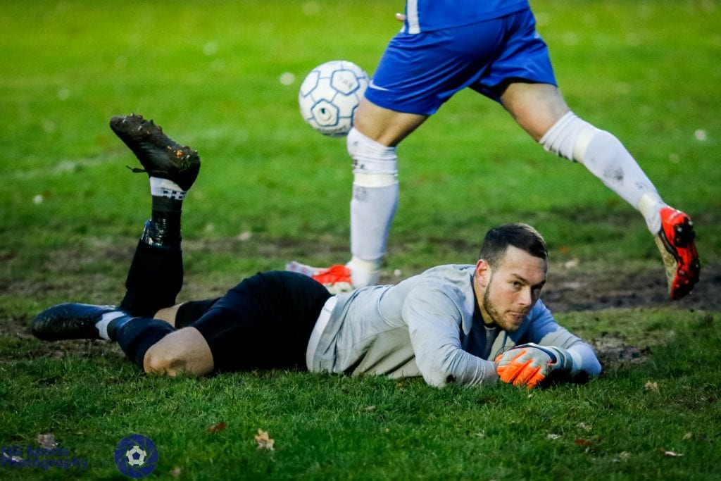 A despondent Thatcham Town goalkeeper Chris Rackley. Photo: Neil Graham.