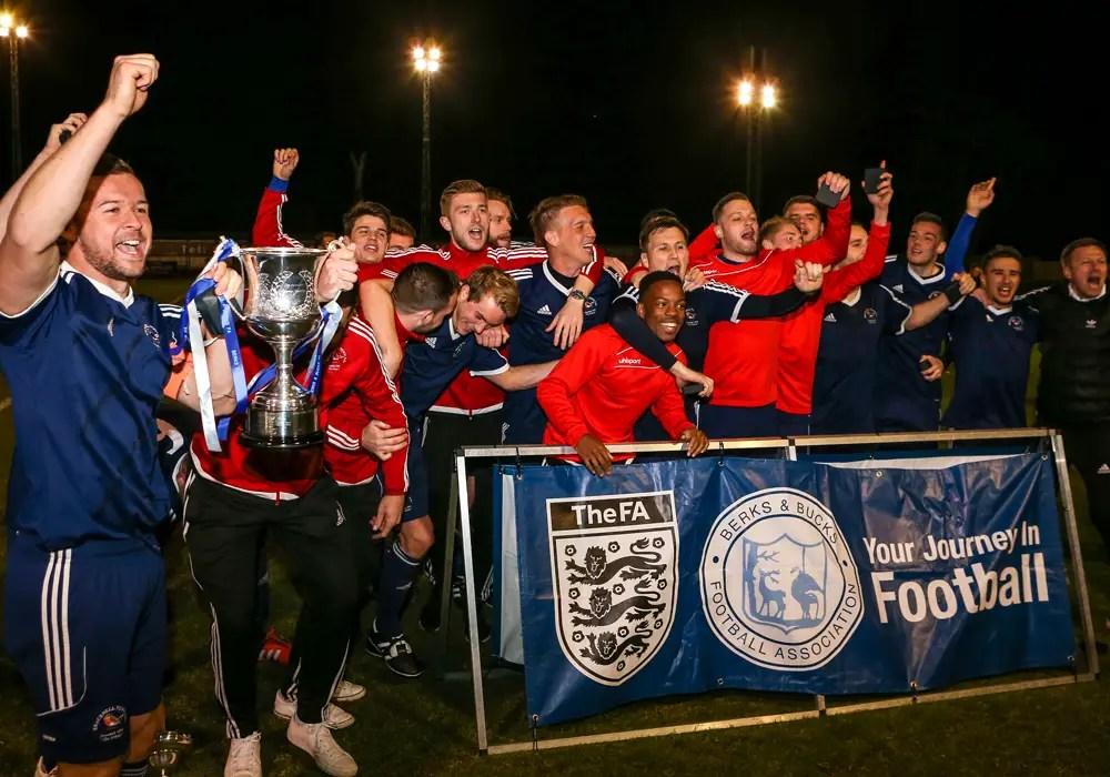 Bracknell Town celebrate with the Berks & Bucks County FA Senior Trophy. Photo: Neil Graham.