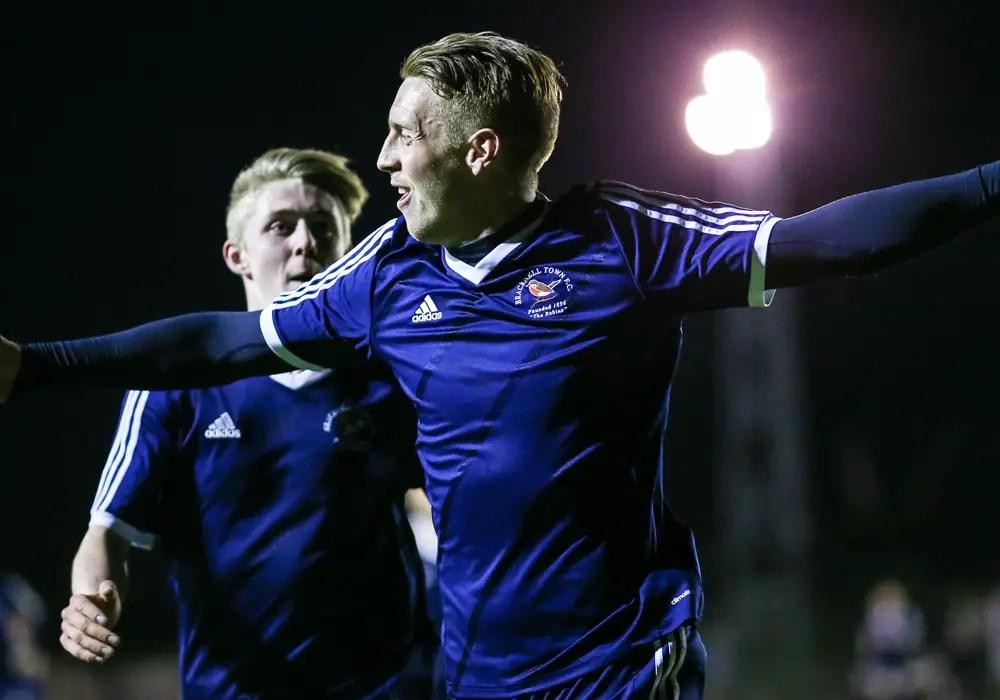 TJ Bohane opens the scoring for Bracknell Town FC. Photo: Neil Graham.