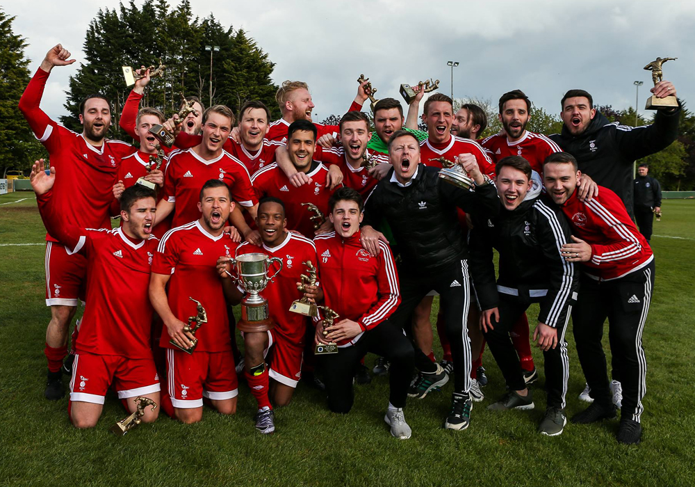 Bracknell Town with the Bluefin Sport Hellenic League Challenge Cup. Photo: Neil Graham.