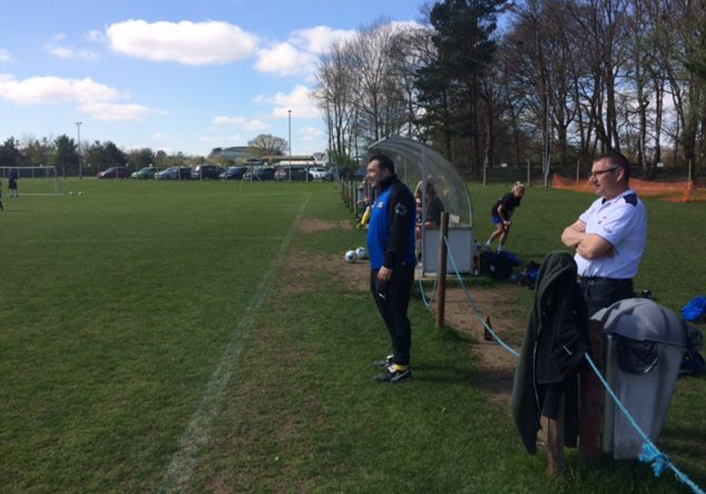 Ascot United Ladies manager Darrel Evans pitchside.