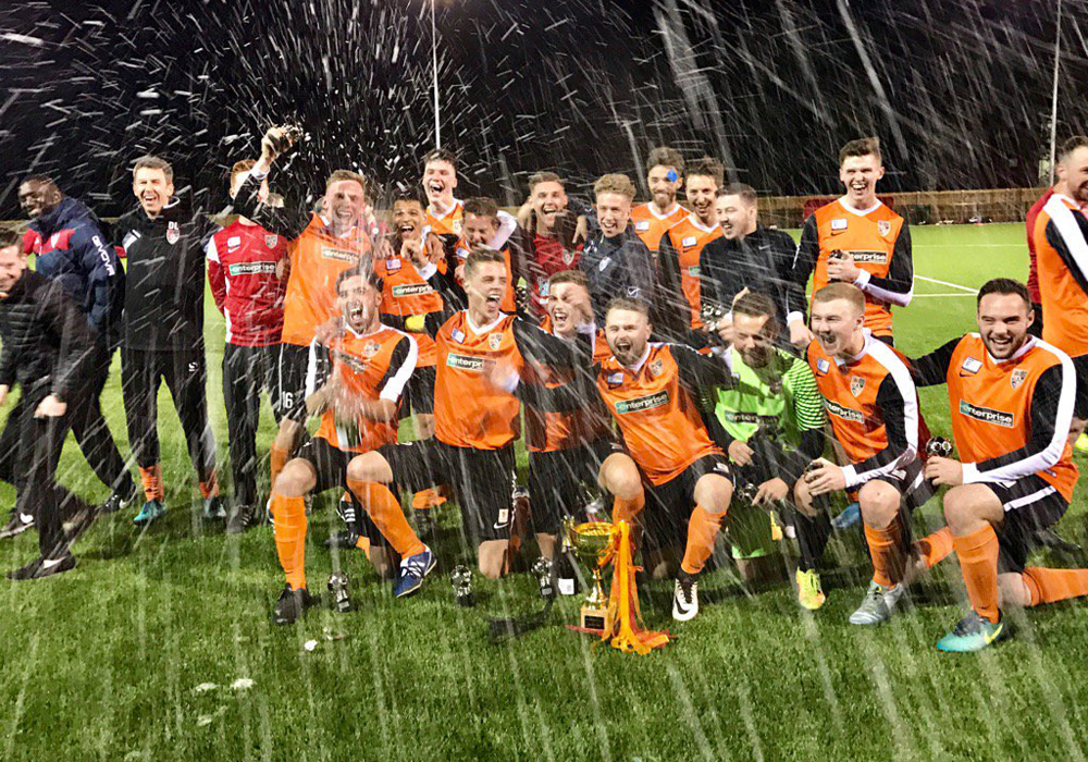 WAB FC celebrate Bracknell Sunday League cup success. Photo: Dave Wright.