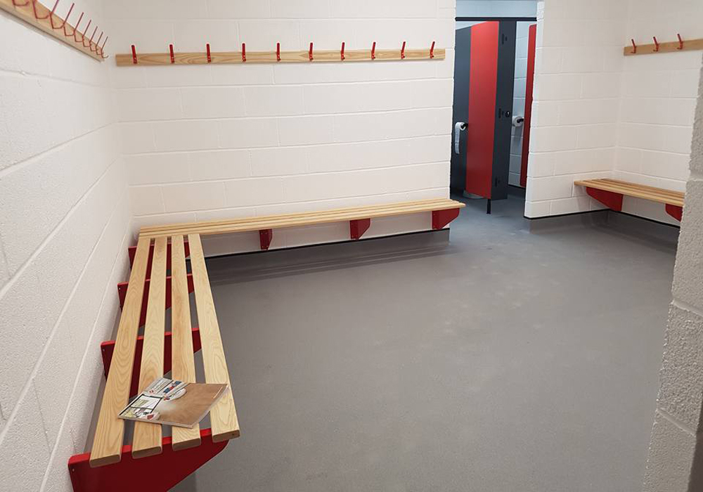 Inside Binfields changing rooms. Photo: Glenn Duggleby.