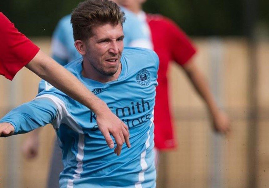 Woodley United's Jake Nicholls. Photo: Neil Graham.