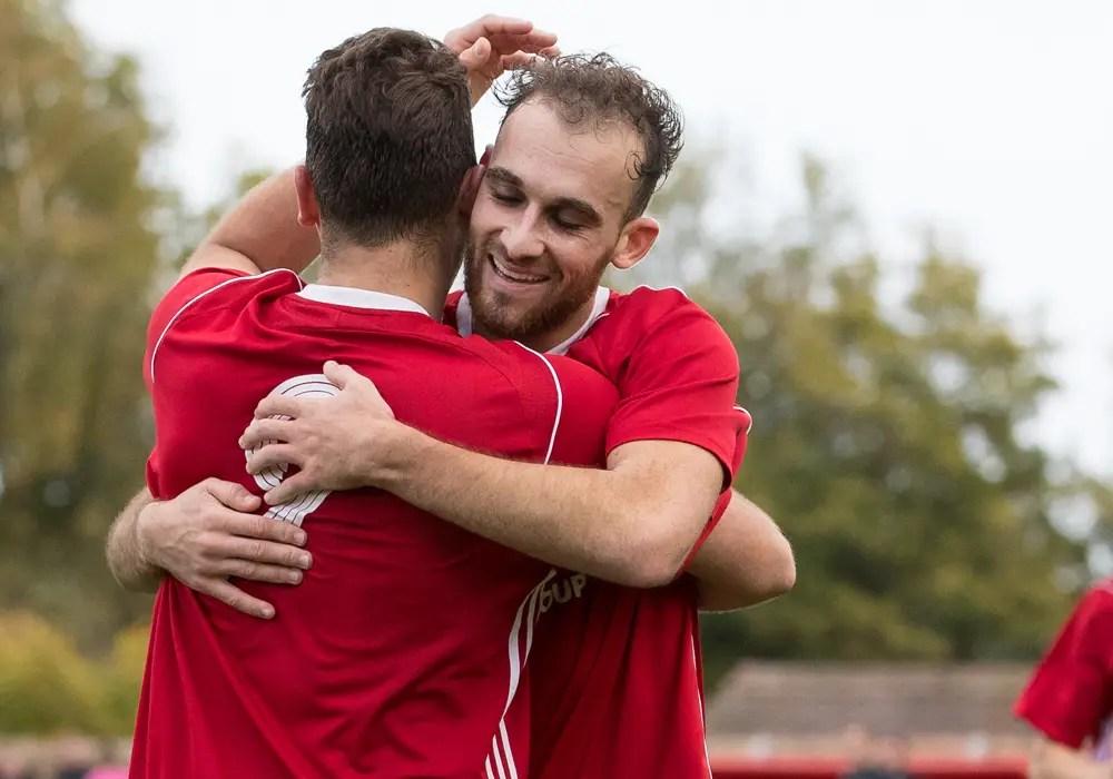 Liam Ferdinand celebrates scoring for Bracknell Town. Photo: Richard Claypole.