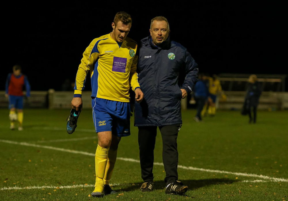 Ben Harris and Ascot United manager Neil Richards. Photo: Neil Graham.