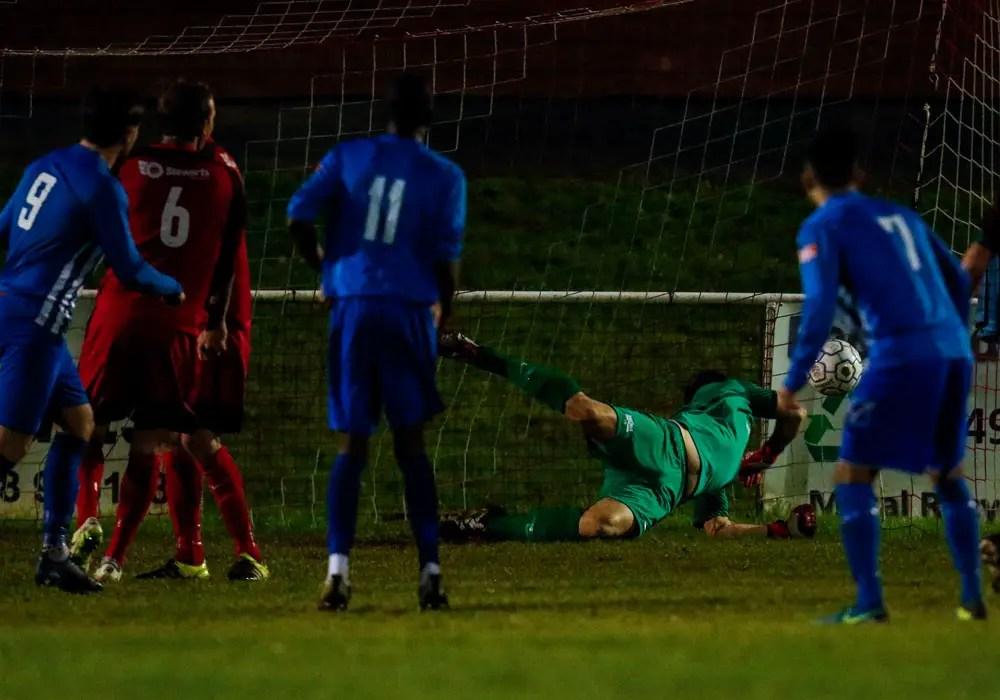 Henry Craven is beaten by Jordan Dondican. Photo: Neil Graham.