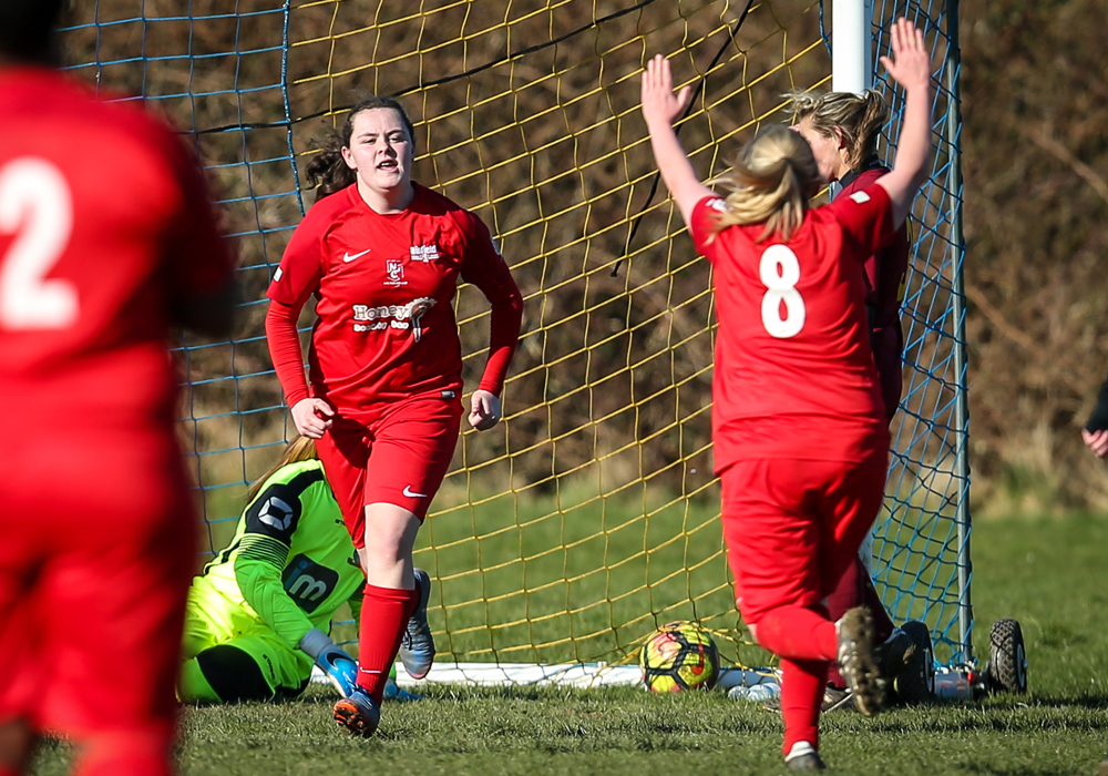 Connie Wilson scores for Binfield Ladies. Photo: Neil Graham.
