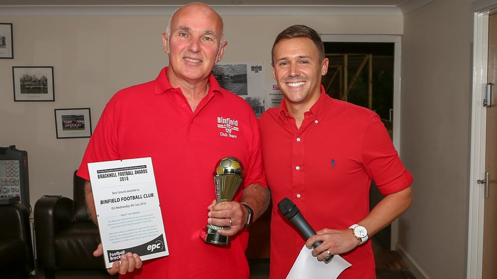 Binfield chairman Bob Bacon accepts his Football in Bracknell Award for Best Ground. Photo: Neil Graham