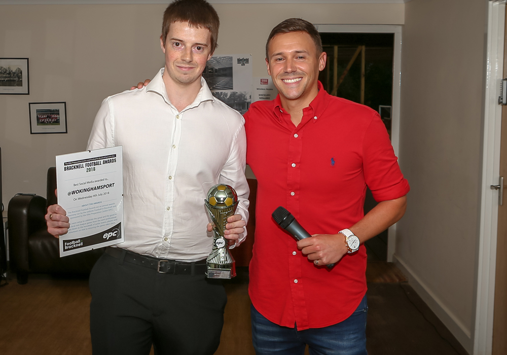 Tom Crocker from the Wokingham Paper accepts the award for Best Social Media. Photo: Neil Graham
