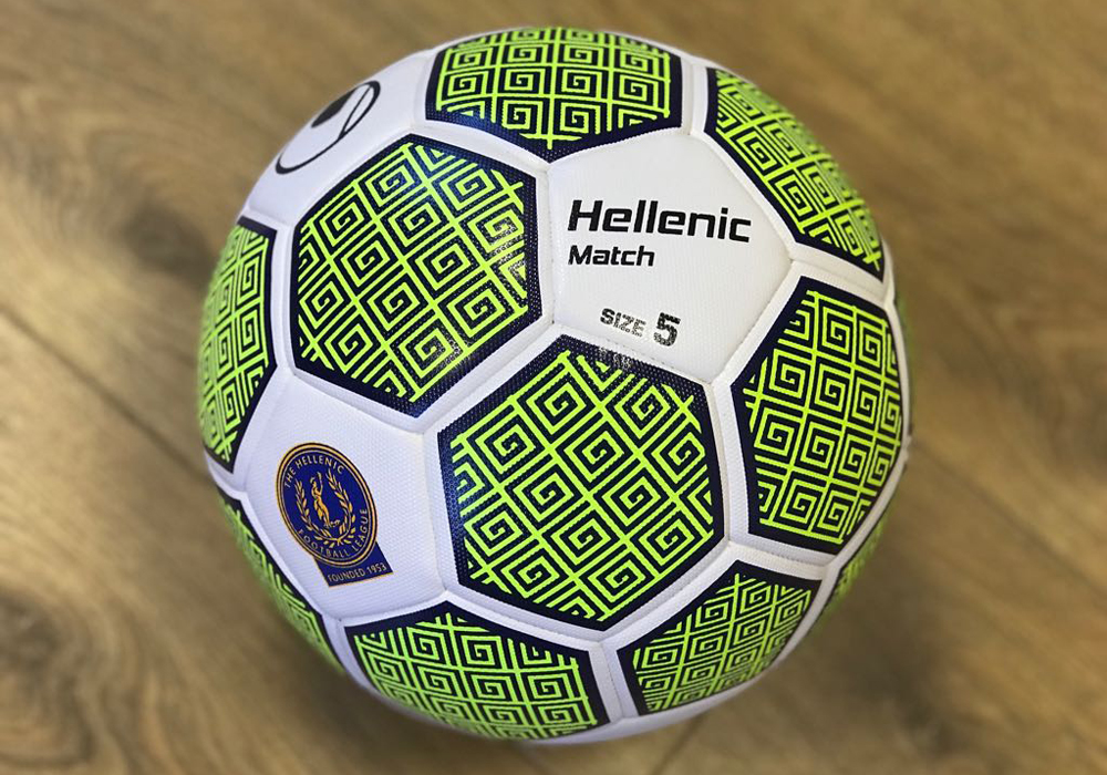 The new Uhlsport Hellenic League match ball. Photo: Andy Findlay.