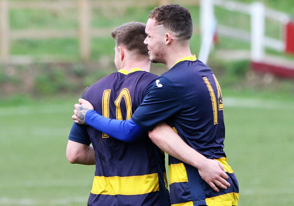 Ross McKernan Celebrating his goal with Kaine McCuley. Photo: Richard Milam.