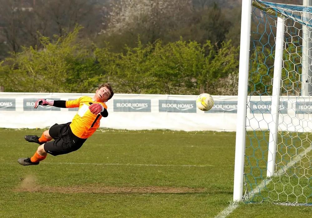 A Ross McKernan header beats the Frimley Green goalkeeper. Photo: Richard Milam.