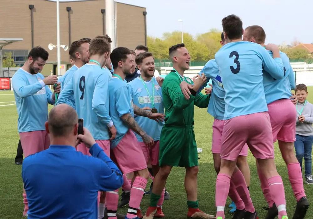 Loveman United celebrate winning the Berks & Bucks County Cup. Photo: Simon Bryce.