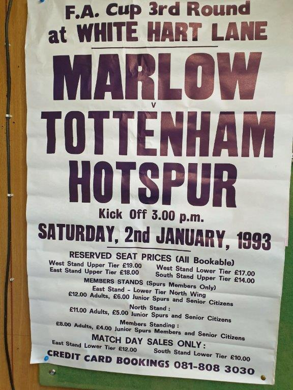 A poster for the Marlow vs Tottenham Hotspur FA Cup tie. Photo supplied by Terry Staines.